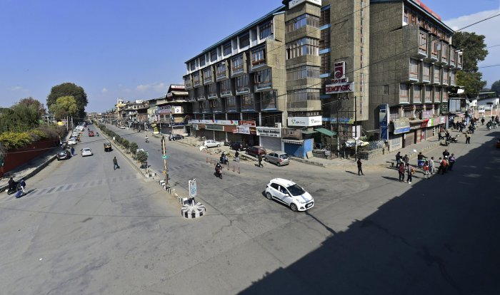 A scene of the city during a strike called by separatist leaders, over the death of 7 civilians in a blast at an encounter site in Laroo area of Kulgam district of south Kashmir, in Srinagar, on Monday. PTI