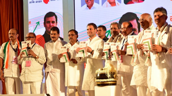 Congress president Rahul Gandhi release his party's manifesto for the upcoming Karnataka Assembly elections in Mangaluru. DH file photo