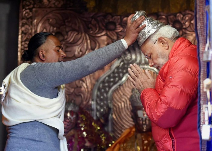 Muktinath, Nepal: Prime Minister Narendra Modi offers prayers at Muktinath Temple in Muktinath on Saturday. (PTI Photo / PIB) (PTI5_12_2018_000061b)
