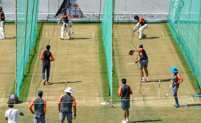 Indian cricket team practice ahead of their first match in the India-West Indies test series, in Rajkot, Tuesday, Oct 2, 2018. (PTI Photo)