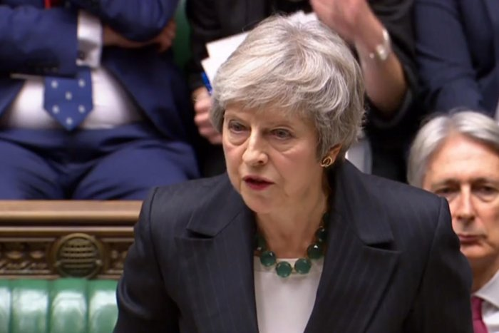 A video grab from footage broadcast by the UK Parliament's Parliamentary Recording Unit (PRU) shows Britain's Prime Minister Theresa May giving a statement to the House of Commons in London. AFP photo