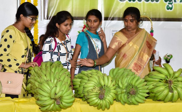 People enthused by the exhibits at Krishi Mela 2018, organised by the University of Agricultural Sciences at GKVK on Thursday.