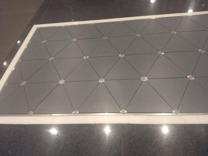 Power generating tile paved on the floor of the Intel campus in Bengaluru.