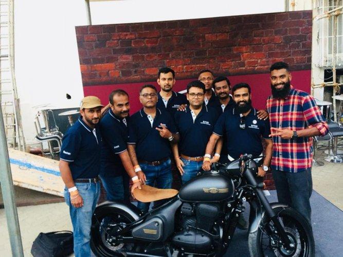 Prateek (fourth from left) and members of Bangalore Jawa Yezdi Motorcycle Club at the Jawa Perak launch in Mumbai.