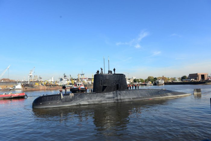 File photo of Argentine military submarine ARA San Juan and crew,seen leaving the port of Buenos Aires in 2014. (Reuters)