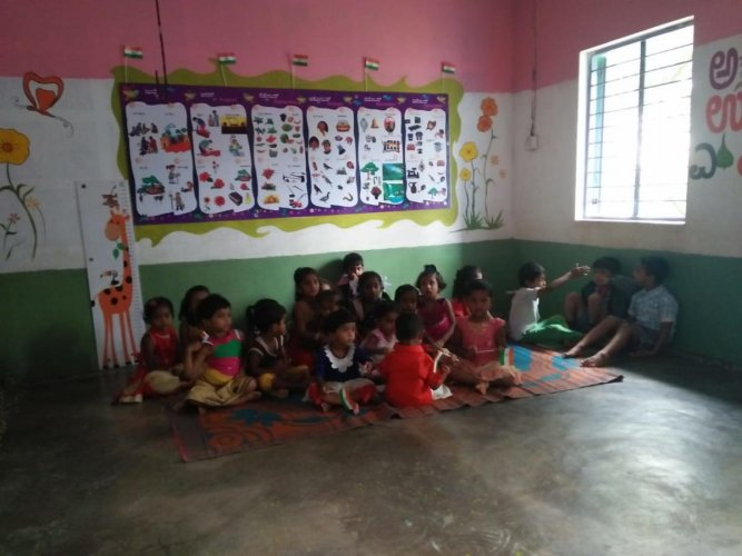 Anganwadis, a type of rural child care centres, were set up by the government to combat under nutrition and stunting among children below the age of six years. DH file photo for representation.