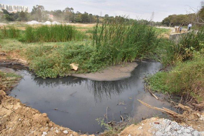 Puttenahalli Lake in Yelahanka. One of the manholes near the waterbody.
