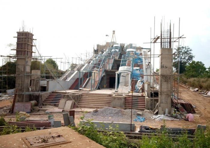 The work on Adi Shankaracharya statue in progress at Maruthibetta in Sringeri.