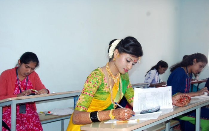 Shwetha rushed from the marriage hall to write BCom exam at a centre in Hassan on Sunday.