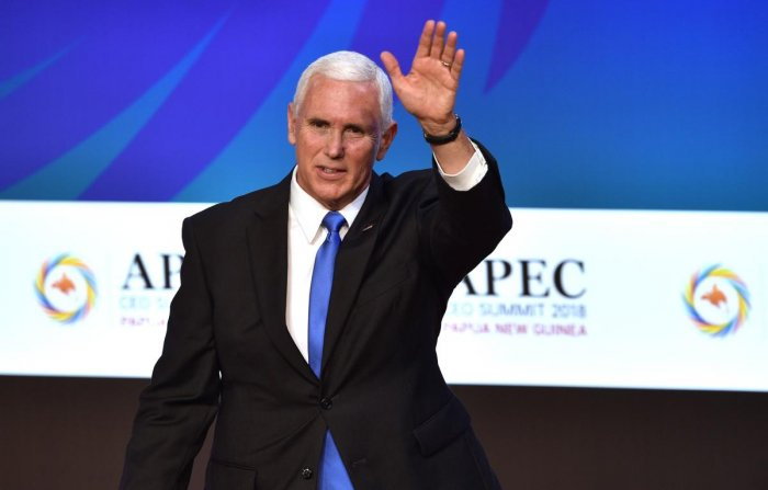 US Vice President Mike Pence waves after delivering his keynote speech for the CEO Summit of the Asia-Pacific Economic Cooperation (APEC) summit in Port Moresby. AFP