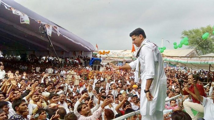 Rajasthan Congress chief Sachin Pilot greets his supporters. (PTI File Photo)
