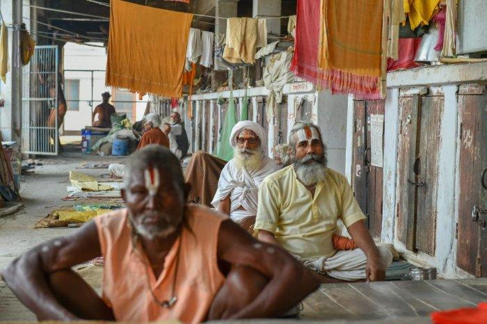 Sadhus at an 'Ashram' in Ayodhya. PTI file photo