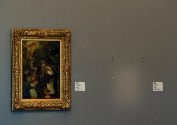 An empty spot on the wall marks the place where the stolen Henri Matisse painting was in Rotterdam's Kunsthal art gallery in the Netherlands October 16, 2012. REUTERS