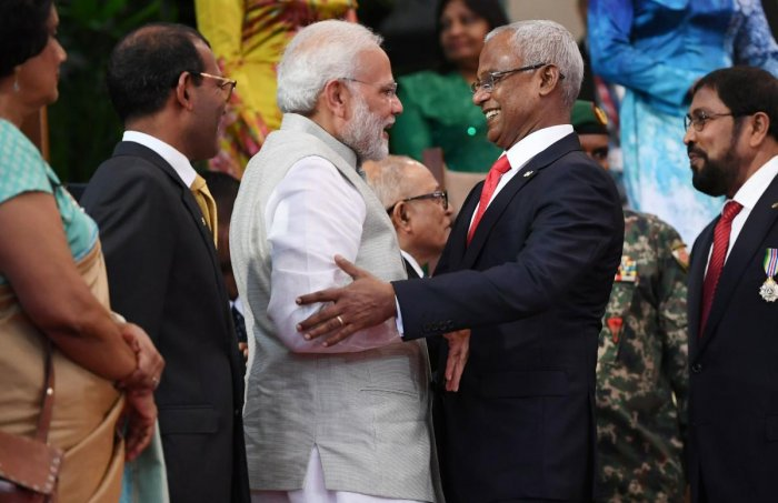 New Maldives President Ibrahim Mohamed Solih embracing Prime Minister Narendra Modi during Solih's presidential inauguration in Male, Maldives. AFP
