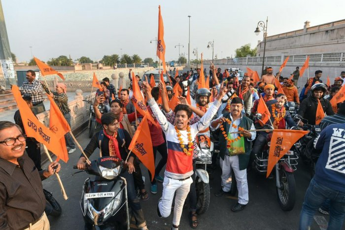 VHP volunteers stage a motor bike rally in Lucknow to make a call for their November 25 Vishal Dharm Sabha at Ayodhya. PTI