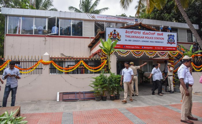 The renovated building of the Tilak Nagar police station. DH PHOTO/S K DINESH