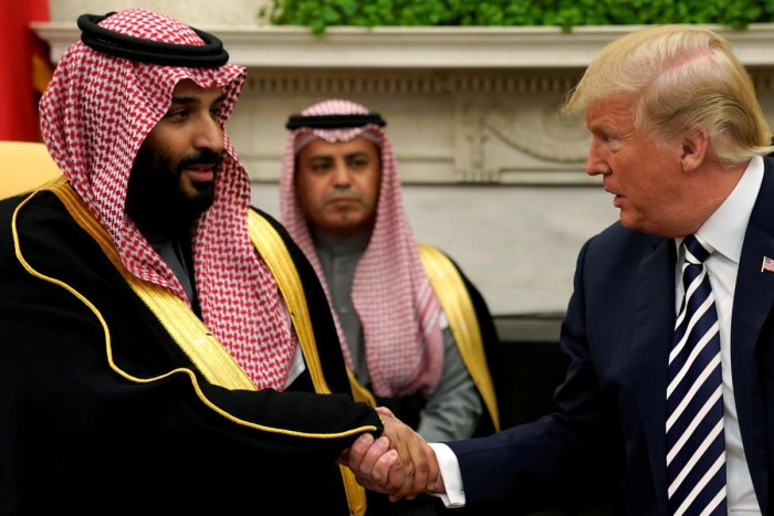 US President Donald Trump with Saudi Arabia's Crown Prince Mohammed bin Salmanat the White House. Reuters File Photo