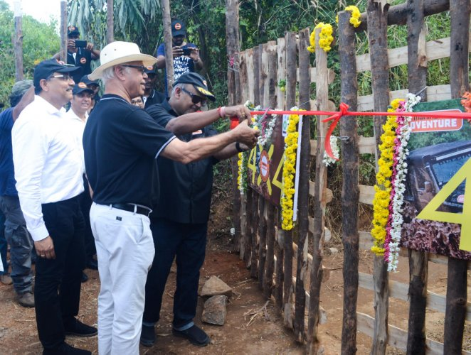 Chief of Adventure initiatives, Mahindra & Mahindra Ltd Bijoy Kumar Y inaugurates the off-road training academy of Mahindra at Pana Education Campus in Kolambe, Bajpe, in Mangaluru.