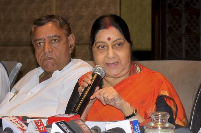 External Affairs Minister Sushma Swaraj addresses the media, in Indore, on Tuesday. Sushma said she won't contest next Lok Sabha poll due to health reasons. PTI