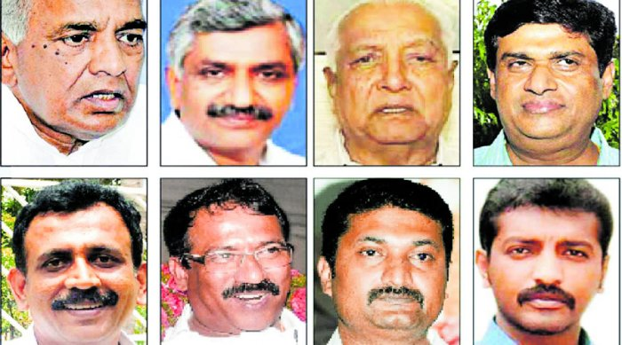 (Top row from left): N S Bose Raju, M D Lakshminarayana, Allum Veerabhadrappa and N Appaji Gowda. (2nd row from left) S Ravi, R B Timmapur, C R Manohar and Raghu Achar.