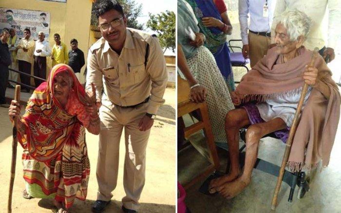 Samudri Patel, 106, cast her vote a polling station at Vaikunthpur in Korea district of Chhattisgarh. So did Dwar Prasad Netam, 101, at another polling station in Janjgir district of the State. (Credit: Chief Electoral Officer of Chhattisgarh)