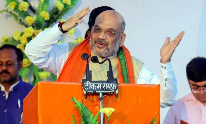 BJP president Amit Shah and Congress president Rahul Gandhi will be addressing rallies on Tuesday. PTI file photo.