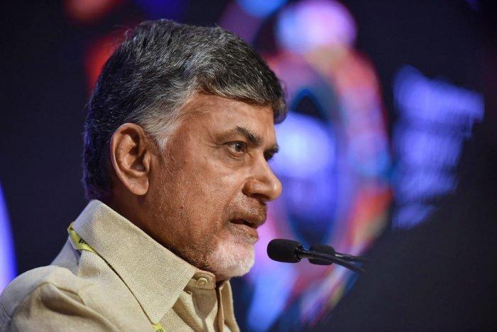 Visakhapatnam: Andhra Pradesh Chief Minister N Chandrababu Naidu addresses in Tech - 2018 Conference, in Visakhapatnam, Thursday, Nov. 14, 2018. (PTI Photo) (PTI11_15_2018_000179A)