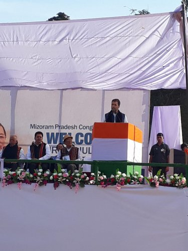 Congress president Rahul Gandhi, at a rally at Malpui near Aizawl, Mizoram on Tuesday. photo by Puia Changte, Aizawl