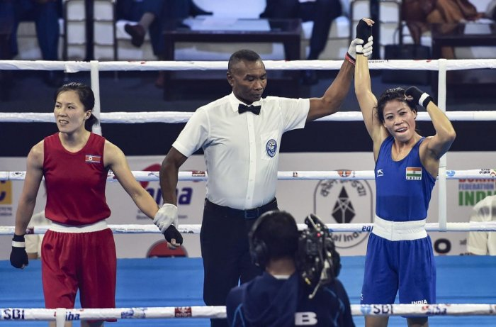 India's Mary Kom is declared winner against Hyang Kim of Peoples Republic of Korea in 45-48kg category during the AIBA Women's World Boxing Championships, in New Delhi, Thursday, Nov. 22, 2018. (PTI Photo)