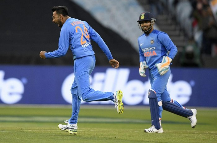 India's Krunal Pandya celebrates after taking the wicket of Australia's Glenn Maxwell during the second T20 international between India and Australia in Melbourne on Friday. Credit: AP/PTI