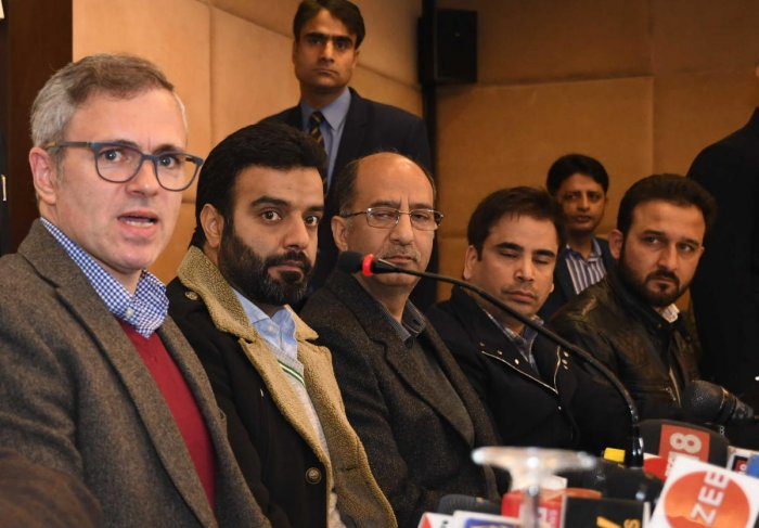 Omar Abdullah and other NC leaders addressing a Press conference in Srinagar on Thursday. Photo by Umer Asif