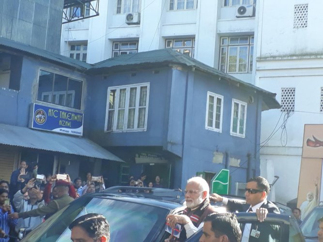 Prime Minister Narendra Modi in Mizoram. DH photo