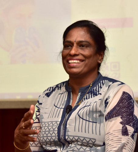 Former Indian Athlete P T Usha talking in a press conference on crowdfunding to empower Athletes of tomorrow, of P T Usha School of Athlwtics, at Capital hotel in Bengaluru on Friday. Photo/ B H Shivakumar