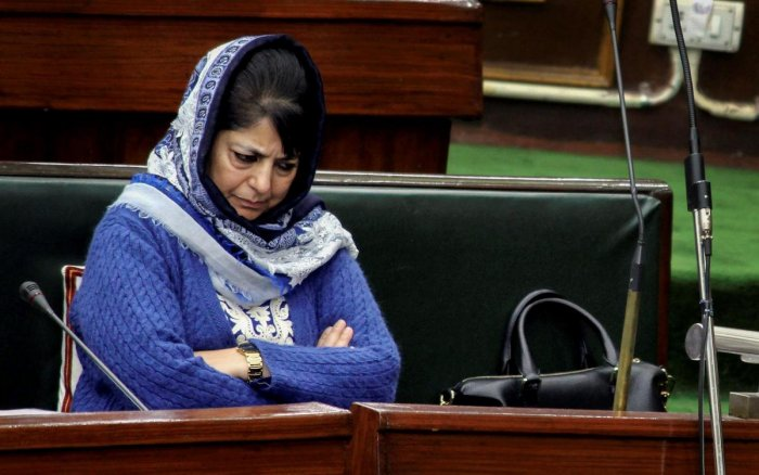 **FILE PHOTO** Jammu: In this file photo dated January 27, 2017, Jammu and Kashmir Chief Minister Mehbooba Mufti during the Budget Session of the J-K Legislative Assembly in Jammu. BJP on Tuesday, June 19, 2018, has pulled out of the PDP-BJP alliance gove