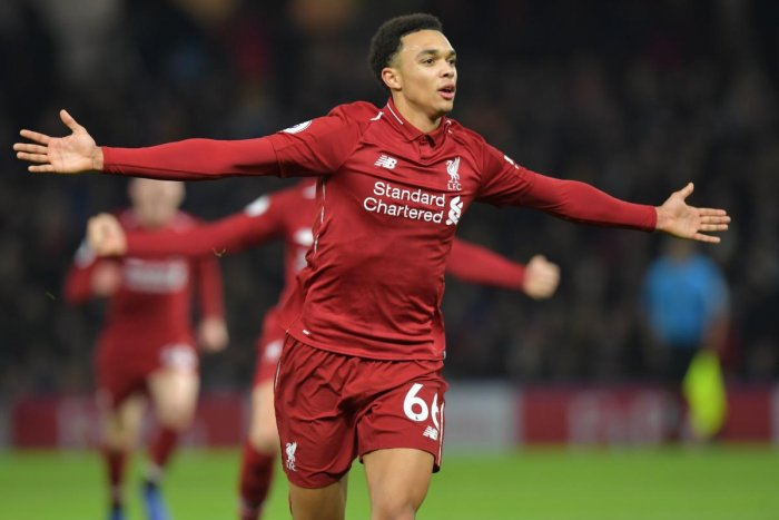 Liverpool's Trent Alexander-Arnold celebrates after scoring against Watford on Saturday. AFP