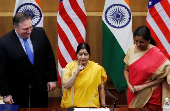 U.S. Secretary of State Mike Pompeo and India's Defence Minister Nirmala Sitharaman look on as India's Foreign Minister Sushma Swaraj gestures before a joint news conference after a meeting in New Delhi. PTI