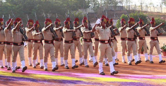 KSISF police constable trainees take part in their passing out parade at the temporary police training school on Gokul Road in Hubballi on Saturday.