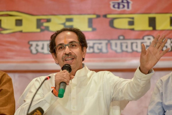 Shiv Sena chief Uddhav Thackeray during a press conference in Ayodhya on Sunday. PTI