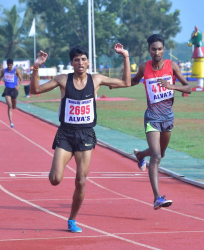 Ajay Kumar Bind of Mangalore University in action during 5000-meter race walk, at the All India Inter-university Athletic meet-2018, in Moodbidri on Sunday.
