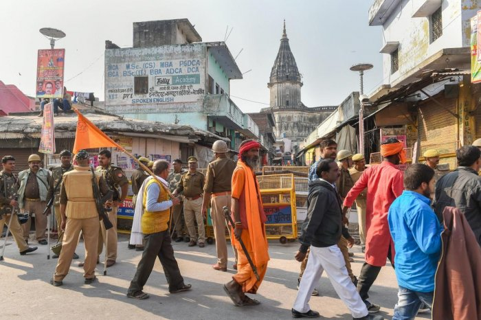 Tight security arrangements near Hanumanghari amid 'Dharam Sabha', being organised by the Vishwa Hindu Parishad to push for the construction of the Ram temple, in Ayodhya, Sunday. PTI