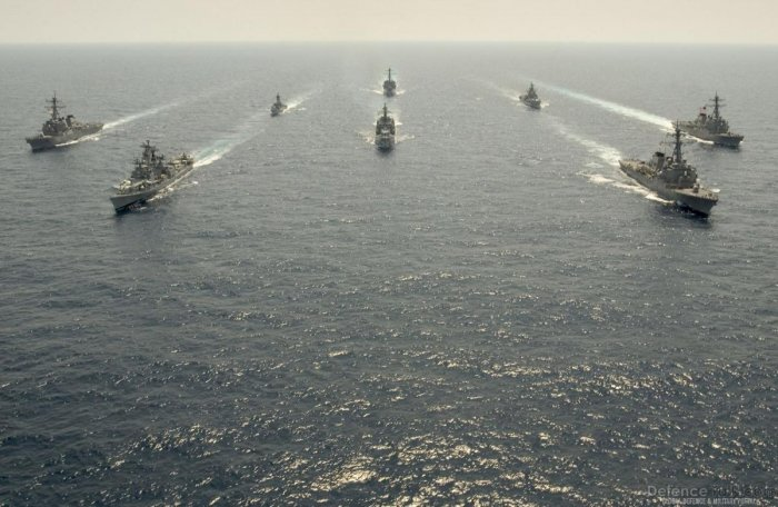 Indian and US ships off the coast of Okinawa in Japan during the first trilateral Malabar Exercise in 2007