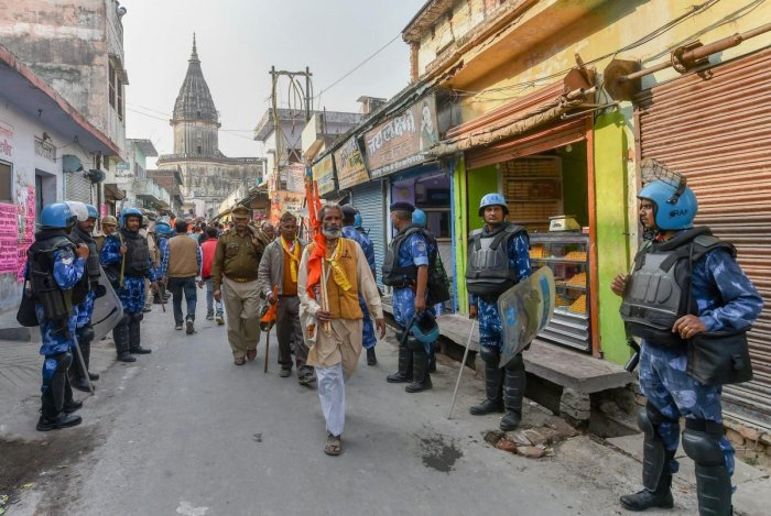 Tight security arrangements near Hanumanghari amid 'Dharam Sabha', being organised by the Vishwa Hindu Parishad to push for the construction of the Ram temple, in Ayodhya, Sunday, Nov. 25, 2018. (PTI Photo)