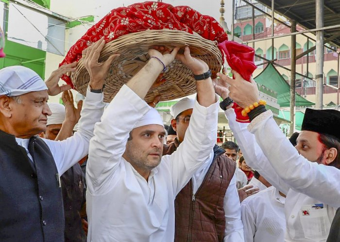 : Congress President Rahul Gandhi and former Rajasthan chief minister Ashok Gehlot arrive to offer prayers at Dargah Sharif, in Ajmer. PTI Photo