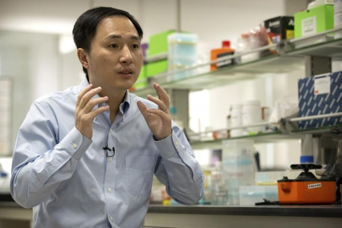 He Jiankui speaks during an interview at a laboratory in Shenzhen in southern China's Guangdong province in Shenzhen on October 10, 2018. AP/PTI