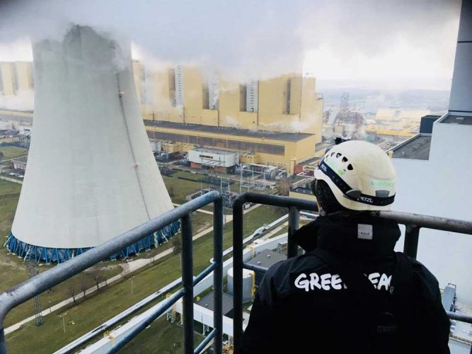 The state-run plant is Poland's biggest power producer, Europe's largest polluter and one of the biggest coal power plants in the world. (Image courtesy Greenpeace/Twitter)