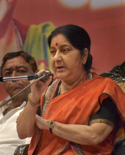 External Affairs Minister Sushma Swaraj. PTI photo