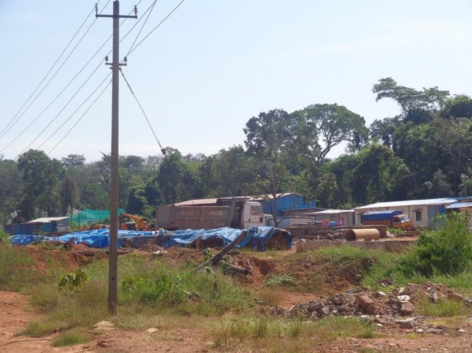 Lorries and machines used for work on the NH 75 stretch are kept at Golithottu, Dakshina Kannada.