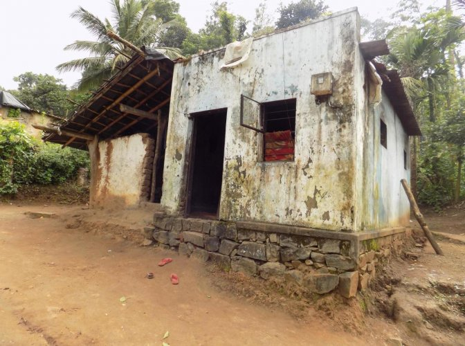 The pathetic condition of a house in the tribal colony at Devarapura in Gonikoppa.
