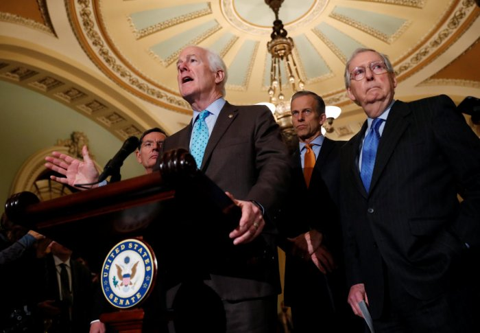 US Senator John Cornyn (R-TX) addresses Capitol Hill reporters following the Senate Republican weekly policy lunch at the US Capitol in Washington. Reuters Photo