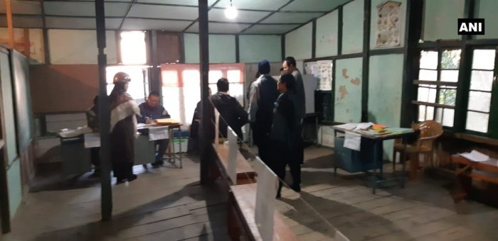 Visuals from a polling station in Zarkawt, Aizawl. Polling for the 40 constituencies in the state will begin at 7 am. ANI photo